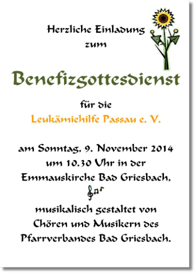 Plakat zum Benefizgottesdienst in Bad Griesbach